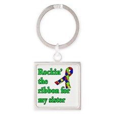 Autism Ribbon for Sister Square Keychain