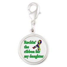 Autism Ribbon for My Daughter Silver Round Charm