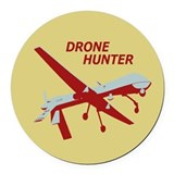 Drone Hunter Round Car Magnet