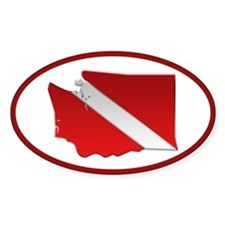 """Washington Diver Flag"" Oval Decal"