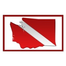 """Washington Diver Flag"" Rectangle Decal"