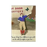 Retro Camping Girl Rectangle Magnet
