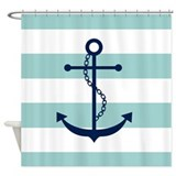 Blue Anchor on Mint Stripes Shower Curtain