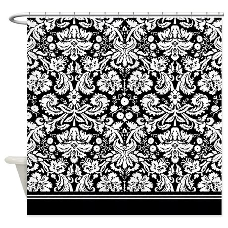 Fancy Black And White Damask Shower Curtain By