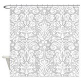 Silver Damask Shower Curtain