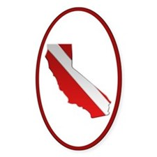 """California Diver Flag"" Oval Decal"