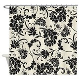 Black and white swirly damask shower curtain