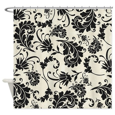 Black And White Swirly Damask Shower Curtain By