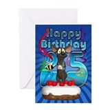 25th Birthday Card With Funky Mouse On Cake
