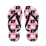 Volleyball Player Number 17 Flip Flops
