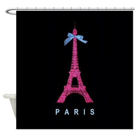 Pink Paris Eiffel Tower Black Shower Curtain By