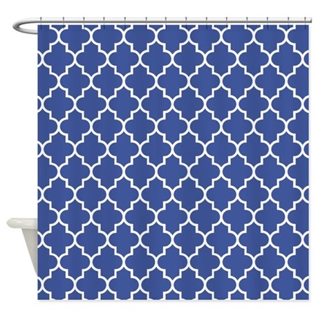 Navy Blue Quatrefoil Pattern Shower Curtain By