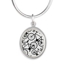 Bicycles Big and Small Silver Oval Necklace