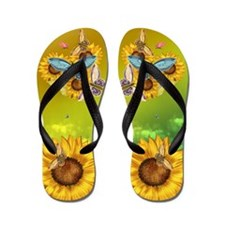 Butterfly And Sunflower Flip Flops