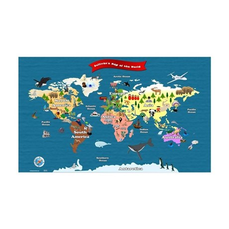 World Map For Kids - Lets Explore Wall Decal