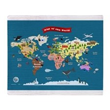 World Map For Kids - Lets Explore Throw Blanket