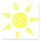 "yellow sun Square Car Magnet 3"" x 3"""