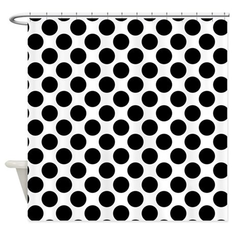 white and black polka dots shower curtain by polkadotted. Black Bedroom Furniture Sets. Home Design Ideas