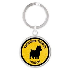 Yorkshire Terrier Person Round Keychain