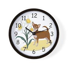 Chihuahua Daffodils Wall Clock