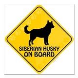 "Husky On Board Square Car Magnet 3"" x 3"""