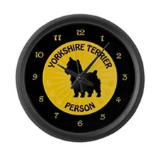 Yorkie Person Large Wall Clock