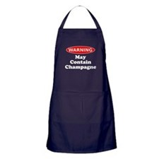 May Contain Champagne Warning Apron (dark)