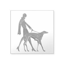 """Art Deco Lady And Borzoi Decal 3"""" x 3"""
