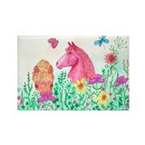 Curly Mares in Wildflowers Rectangle Magnet