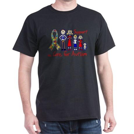 Autism Family Support A Cure Dark T-Shirt