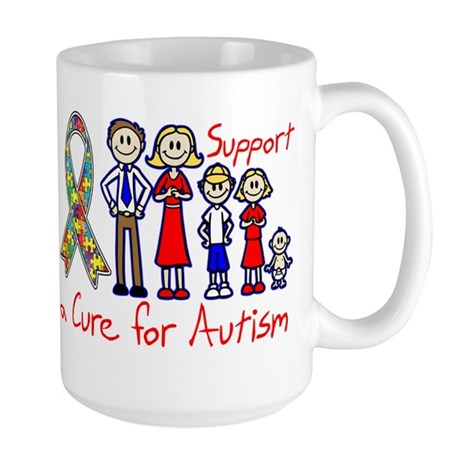 Autism Family Support A Cure Large Mug