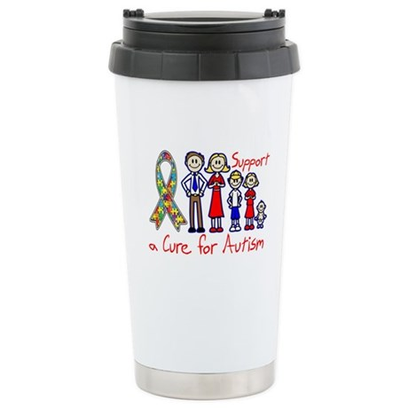 Autism Family Support A Cure Ceramic Travel Mug
