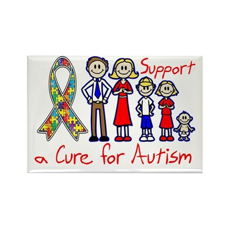 Autism Family Support A Cure Rectangle Magnet