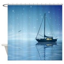 Sailboat at Night Shower Curtain