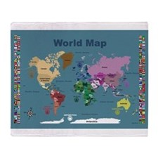 World Map For Kids With Flags Throw Blanket