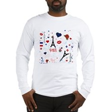 Paris pattern with Eiffel Tower Long Sleeve T-Shir