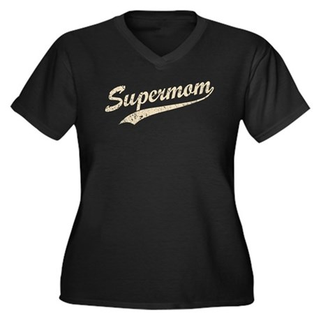 Vintage Super Mom Women's Plus Size V-Neck Dark T-
