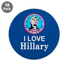 "I Love Hillary 3.5"" Button (10 pack)"