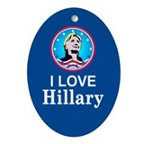 I Love Hillary Oval Ornament
