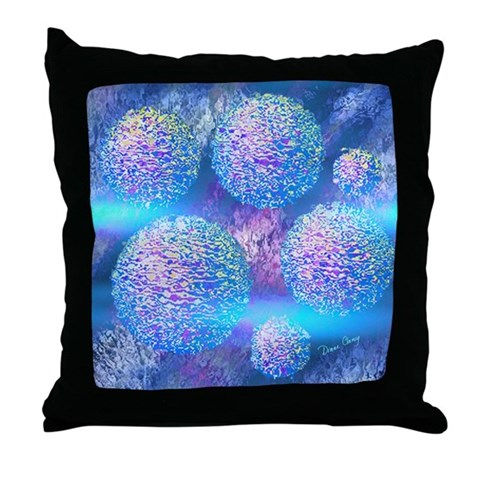 Outer Flow III Aqua Throw Pillow