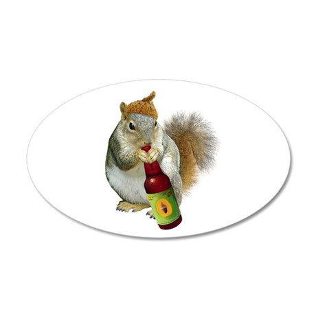 Squirrel Acorn Beer 20x12 Oval Wall Decal