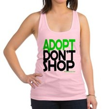 ADOPT DONT SHOP - green Racerback Tank Top