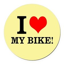 Cute I love my bike Round Car Magnet