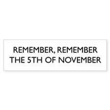Guy Fawkes Bumper Bumper Sticker