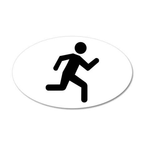 Running person 20x12 Oval Wall Decal