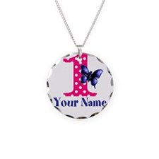 Pink and Purple Butterfly First Birthday Necklace