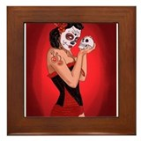 Skull Love - dia de los muertos Pin-up Framed Tile