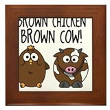 Cute Brown Chicken Brown Framed Tile