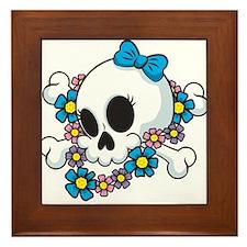 Flower Power Skull Framed Tile