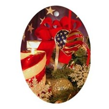 Patriotic Christmas Oval Ornament